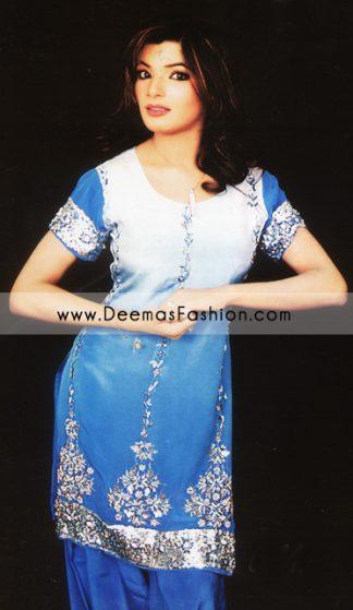 Buy Pakistani Fashion Clothes - Blue Shalwar Kameez Dress