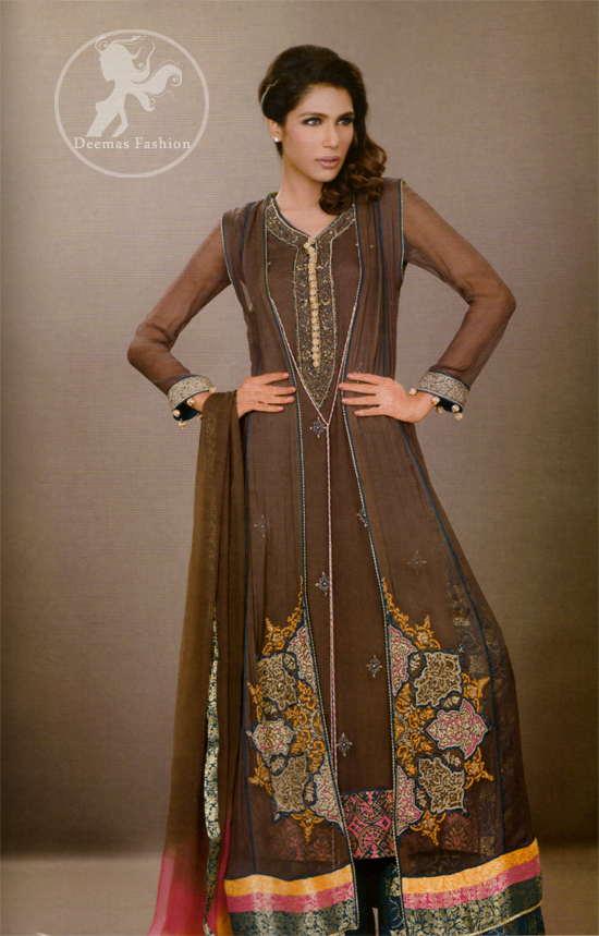 Dark-brown-front-open-casual-wear-gown-and-straight-trouser
