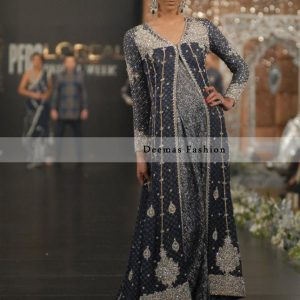 Dark Grey Silver Bridal Wear Sharara