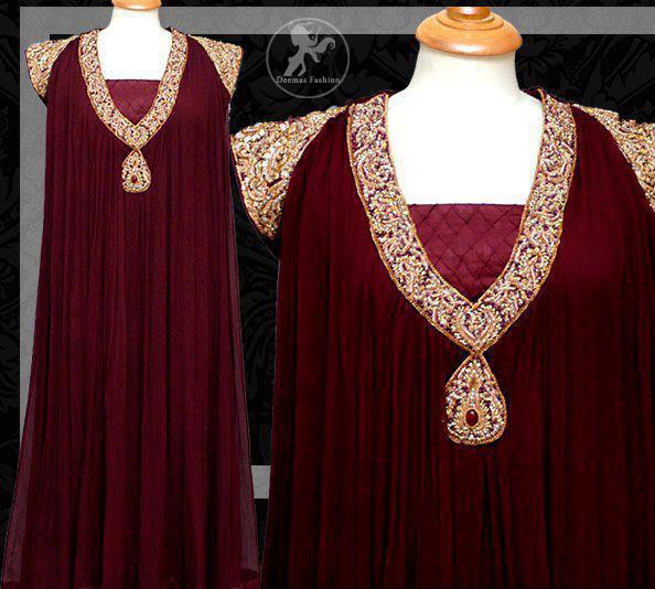 Dark-maroon-semi-formal-party-gown