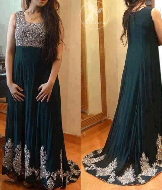 Dark-teal-back-trail-maxi-with-embellished-bodice