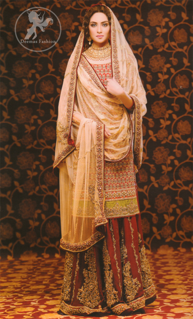 Deep-red-and-peach-heavy-embellished-bridal-dress