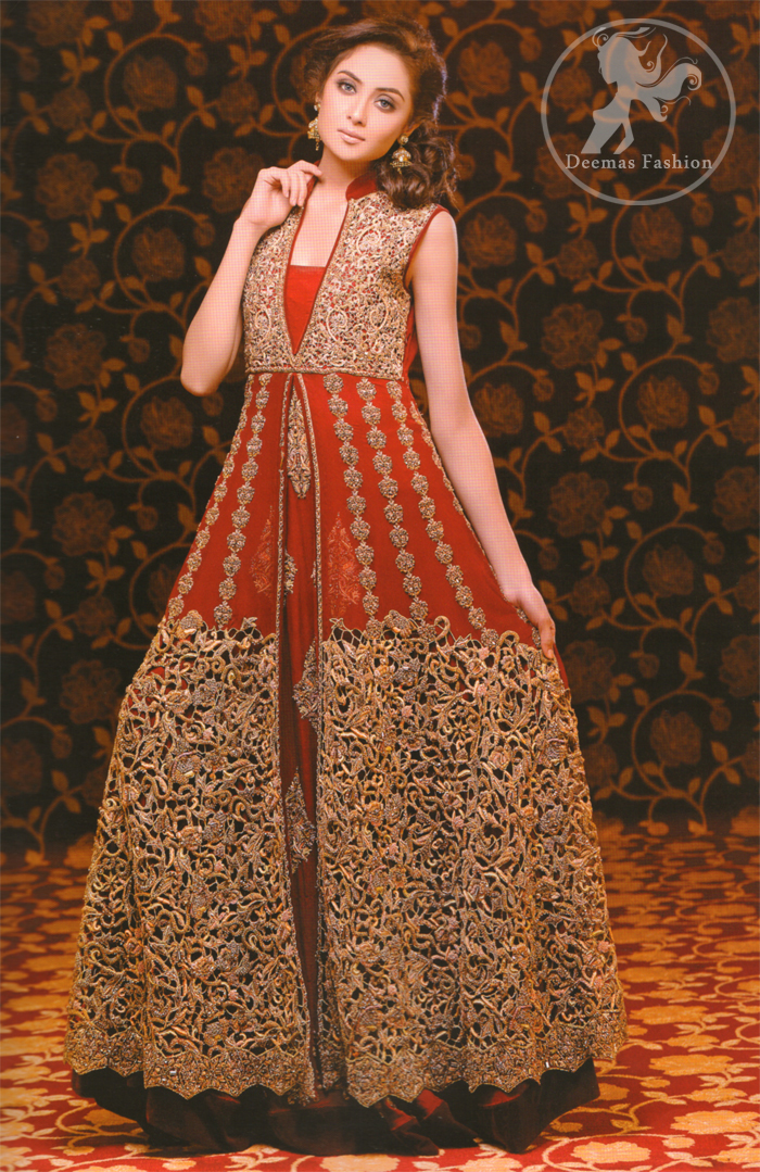 Deep-red-heavy-embellished-double-layer-front-open-bridal-gown