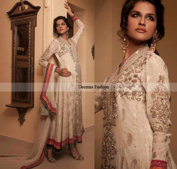 Designer Collection Elegant White Anarkali Frock Churidar