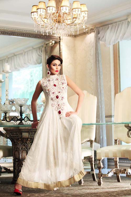 White and Red Anarkali Frock