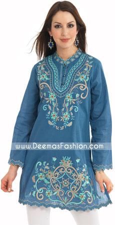 Pakistani Simple Designer Wear Blue kurti