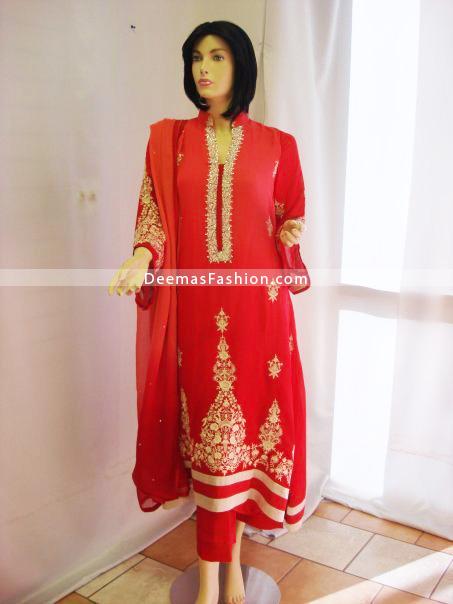 Designer Wear Red Embroidered Dress - Red Beige