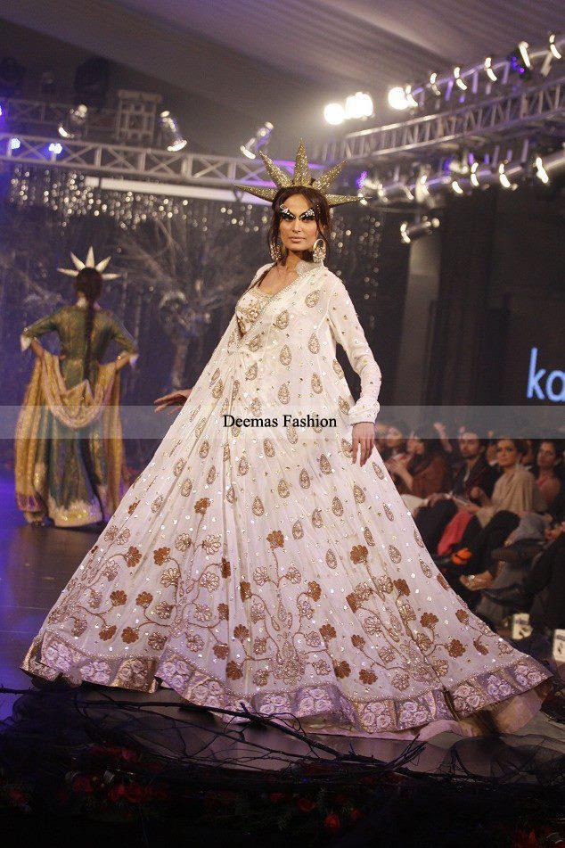 Designer Collection 2016 White Embroidered Anarkali Pishwas Dress