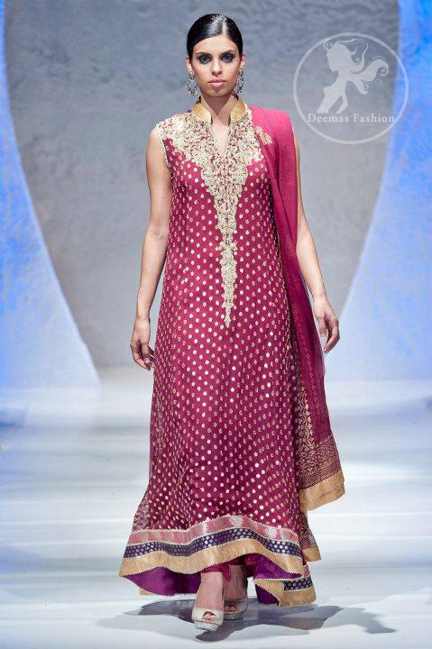 Designer-wear-Dress-Dark-Pink-back-trail-banarsi-frock-with-embellished-neckline
