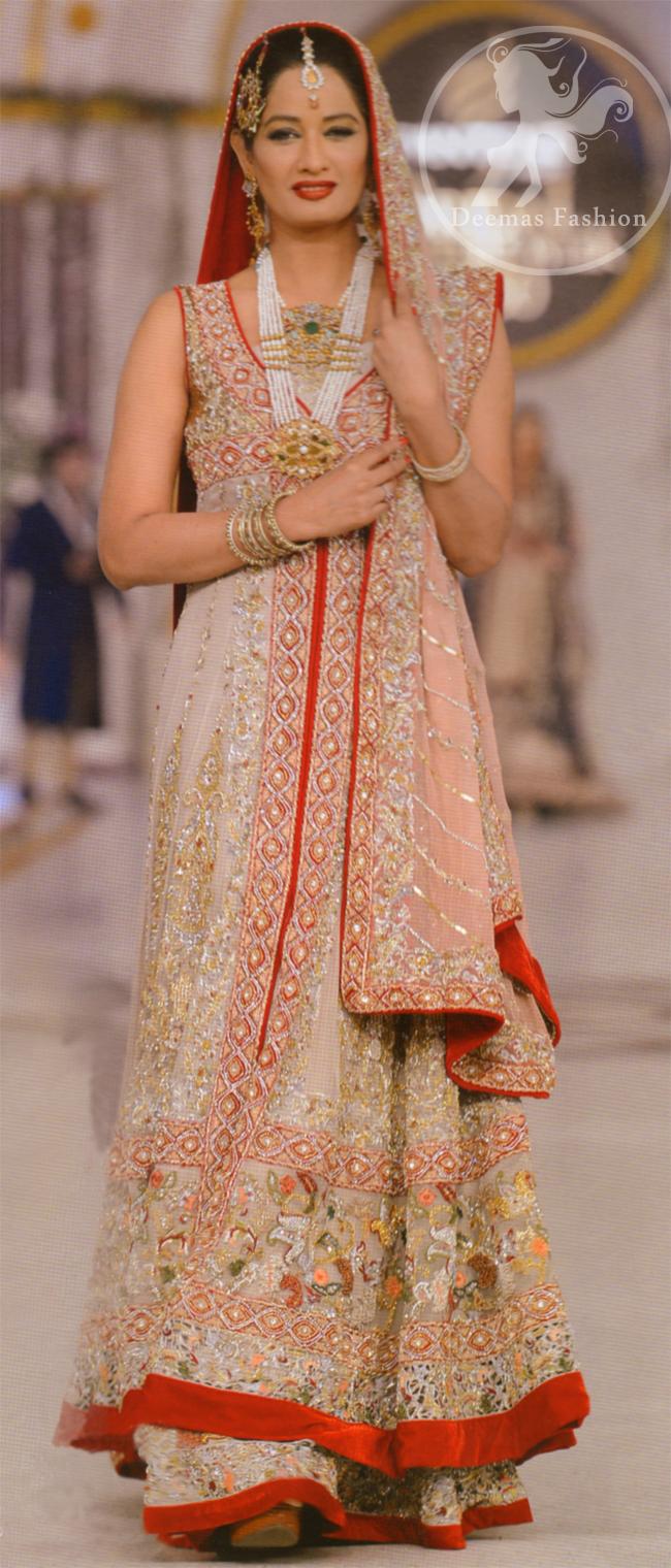Designer Wear Bridal Dress Ivory White Front Open Gown & Lehenga