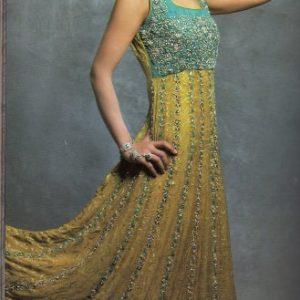 Pakistani Latest Fashion Colthes - Dull Golden Bridal Anarkali Dress