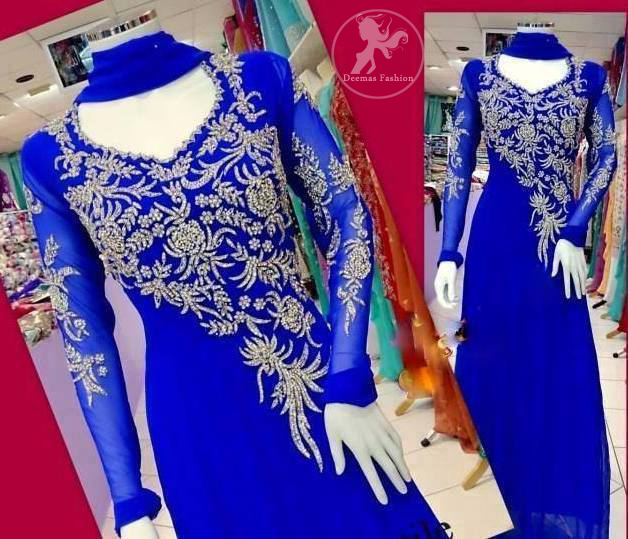 Electric-Blue-Aline-Frock-and-churidar-with silver-embellishment