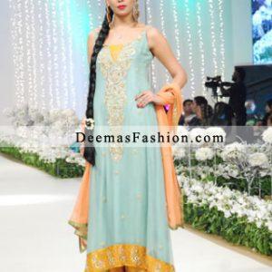 Latest Ferozi Yellow Mehndi Wear Bridal Dress