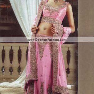 Latest Indian Style Lehenga - Pink Golden Bridal Dress