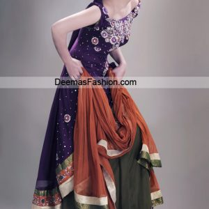 Larest Bridal Dress - Purple Mehndi Green Shrara