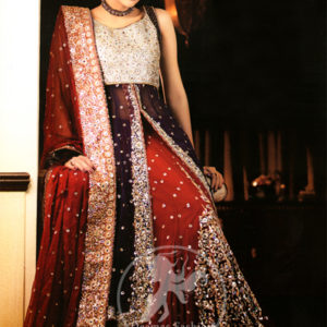 Latest Bridal Dress Plum Front Open Embroidered Gown Deep Red Lehnga Dupatta