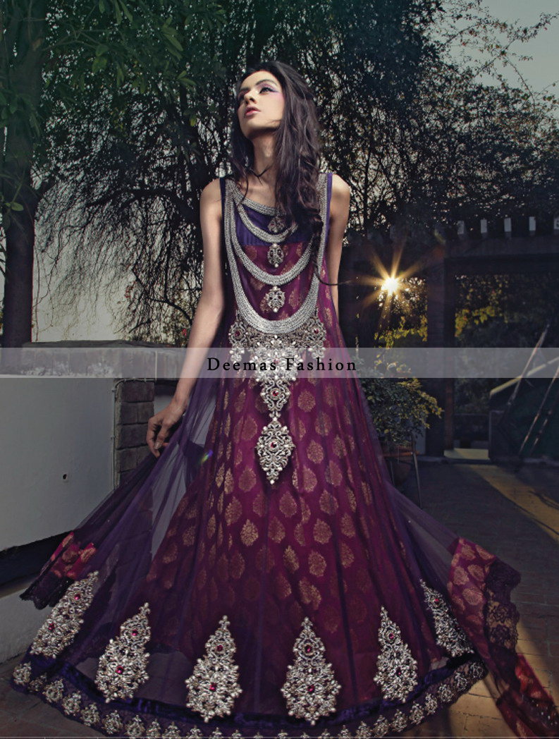 Latest Collection 2016 Pink Purple Anarkali Frock
