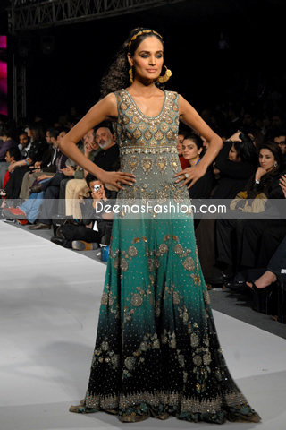 Latest Design Sea Green & Black Double Tone Pishwas