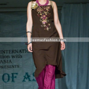 Latest Designer Dress - Brown Shocking Pink Casual Wear