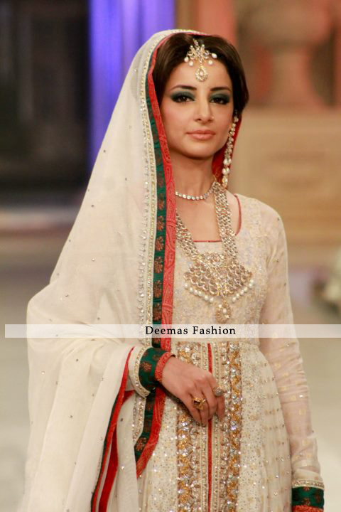 Latest Designer Collection 2016 Ivory White Front Bridal Wear Open Anarkali
