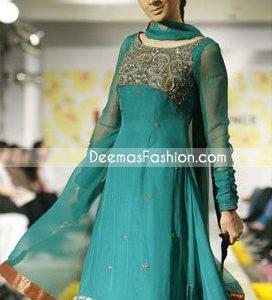 Latest Designer Collection - Ferozi Green Anarkali Frock