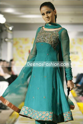 Latest Designer Collection - Ferozi Green Anarkali Frock
