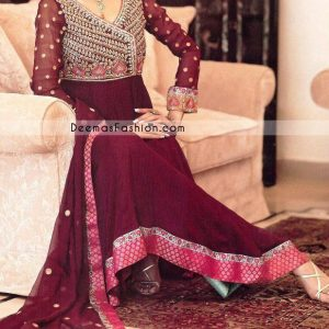 Latest Fashion - Maroon Anarkali Angrakha Style Outfit