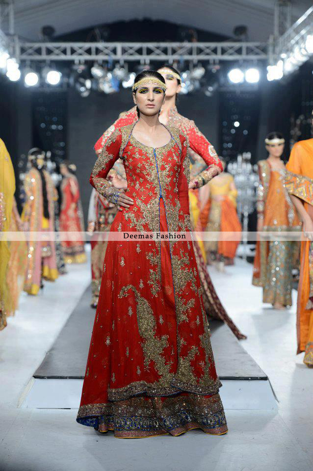 Latest Pakistani Bridal Collection 2013 Orange lehnga