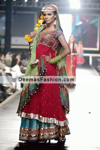 Latest Pakistani Bridal Wear Sharara Red Designer Wear Lehnga