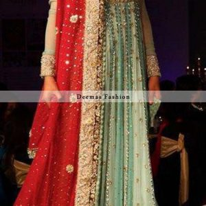 Latest Pakistani Bridal Pishwas Pistacho Green Red 2013