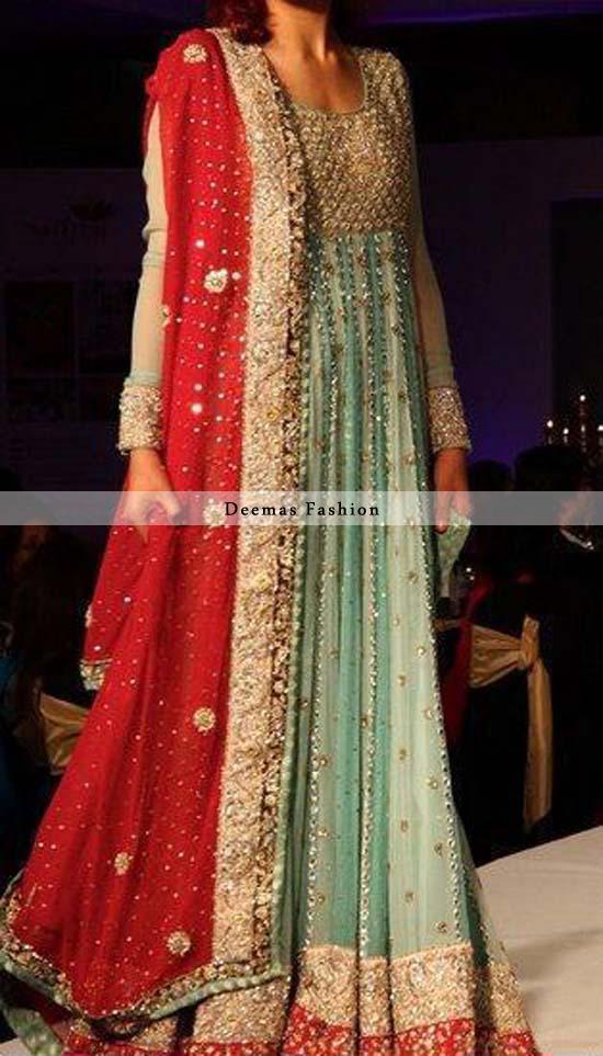 Latest Pakistani Bridal Pishwas Pistacho Green Red 2013