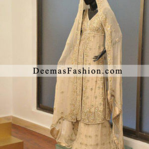 Latest Pakistani Bridal Wear Collection Off White Sharara Open Shirt Gown