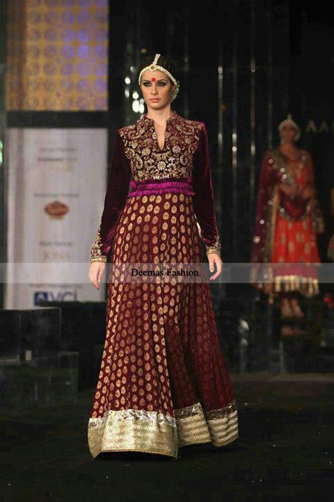 Latest Pakistani Designer Dress 2013 Maroon Anarkali Pishwas