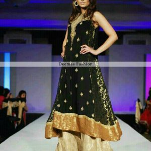 Latest Pakistani Designer Dress Black Aline Frock Sharara