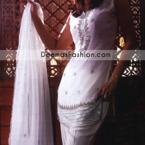 Latest Pakistani Designer Wear -White Silver Dress