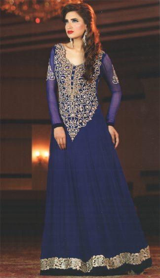 Latest Pakistani Royal Blue Party Wear Frock Churidar Pajama
