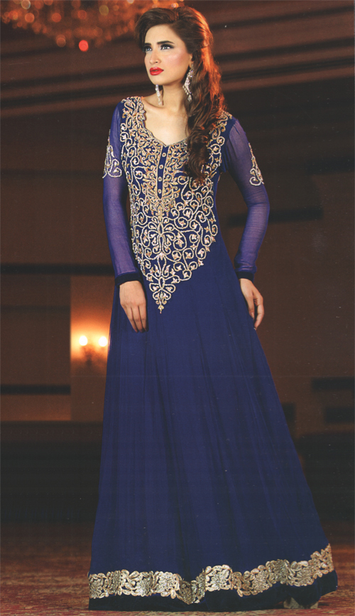Latest Pakistani Royal Blue Party Wear Frock Churidar Pajama