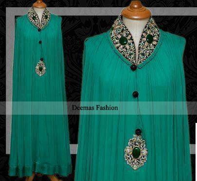 Latest Pakistani Designer Wear Sea Green Party Dress