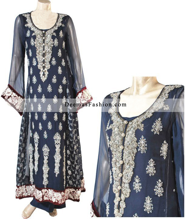 Latest Pakistani Fashion 2016 Navy Blue A-Line Dress