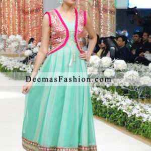 Latest Pakistani Fashion 2011 Ferozi Green Anarkali Frock Churidar