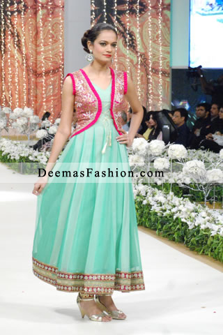 Latest Pakistani Fashion 2016 Ferozi Green Anarkali Frock Churidar