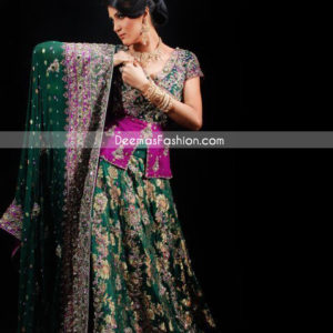 Latest Pakistani Bridal Wear - Bottle Green & Magenta Lehnga