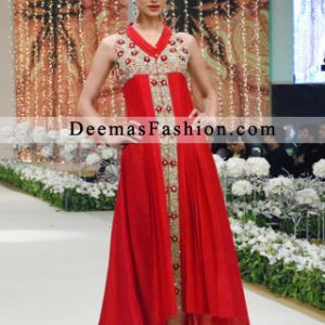Latest Designer Collection Red Back Tail Dress