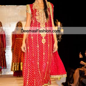 Latest Eid Dress Red Aline Shirt Trouser