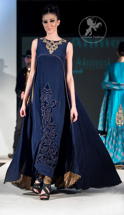 Navy-Blue-Double-Layer-frock-churidar