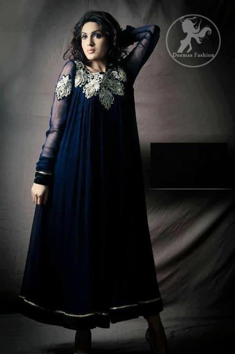 Navy-blue-semi-formal-frock-and-churidar-pajama