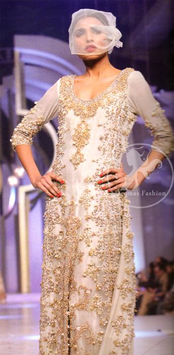 Pakistani Walima Maxi Dress Off White Double Layer Maxi