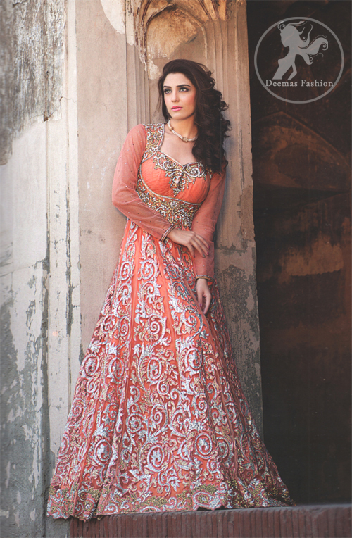 Orange Peach Fully Embroidered Maxi - Latest Designer Dresses ... 7e43ef539