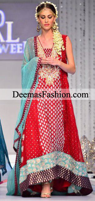 Pakistani Bridal Wear 2011 Red Ferozi Anarkali Dress