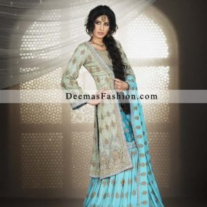 Pakistani Bridal Wear Designer Dress Blue Gharara